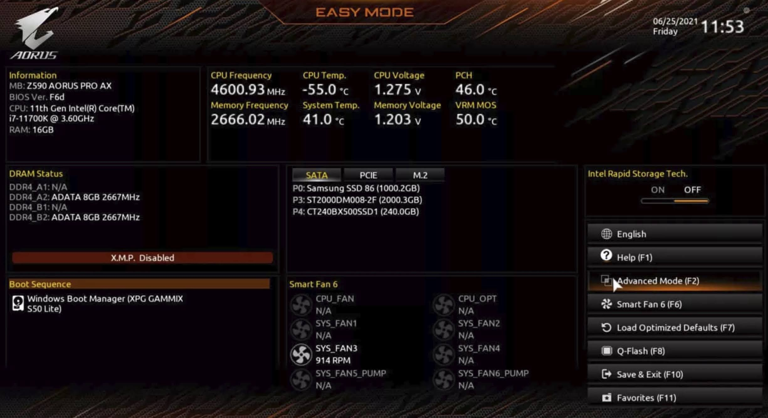 Enable TPM 2.0 for GIGABYTE motherboard using AORUS: The Easy Mode will show on the first screen, press F2 inside the BIOS or click on the Advanced Mode option in the sidebar to switch to Advanced mode.