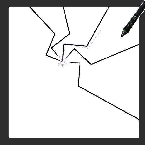 クリスタ特殊定規(放射曲線)を利用した描画