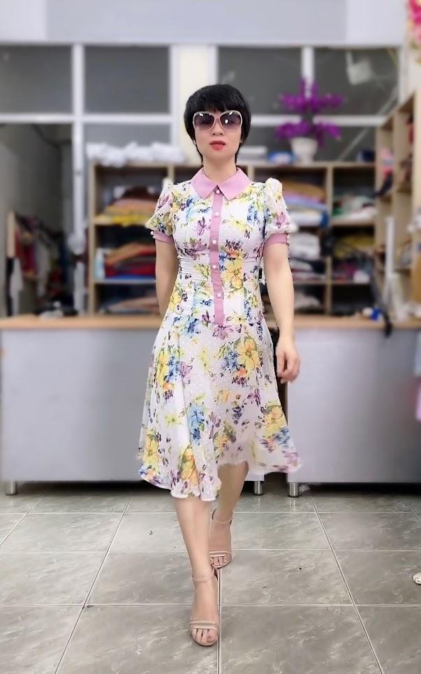 váy xòe midi công sở nữ mặc đẹp thời trang thủy cát bà