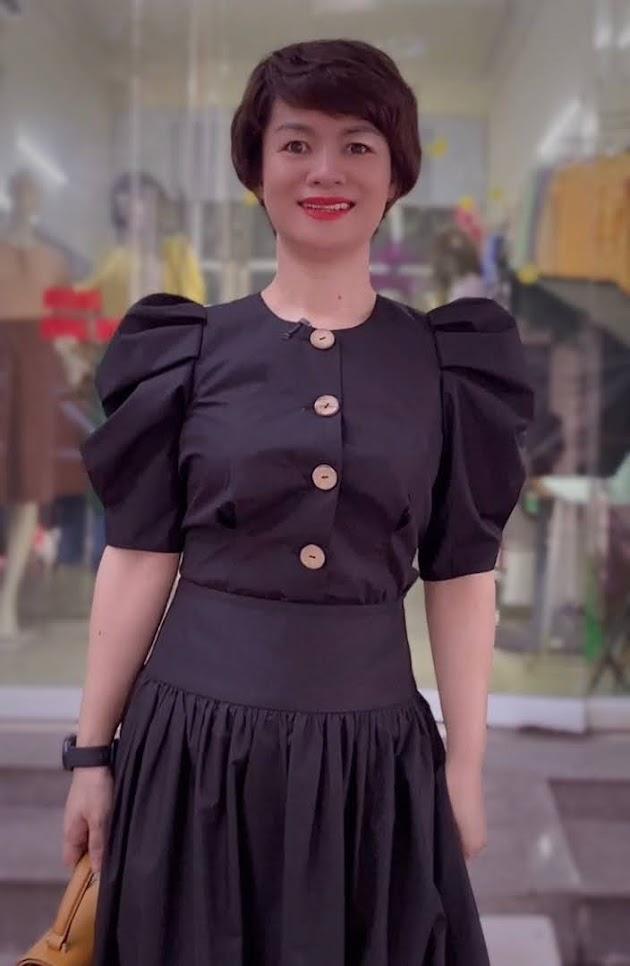 áo croptop nữ tay bống phối đồ chân váy xòe midi thời trang thủy quảng ninh