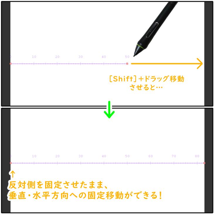 クリスタの制御点ツールで直線定規を変形させる