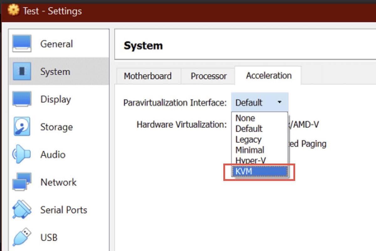 Set the Paravirtualization Interface to KVM.