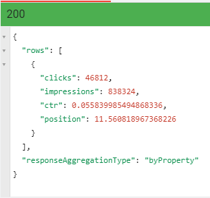 Google Search Console API > Try this API results 1