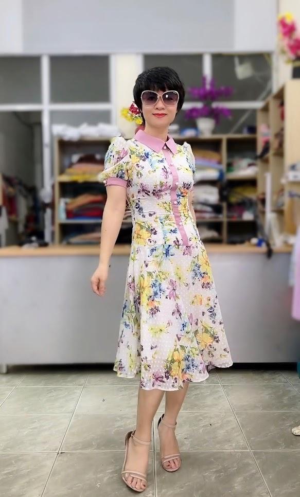 váy xòe midi công sở nữ mặc đẹp thời trang thủy đà nẵng