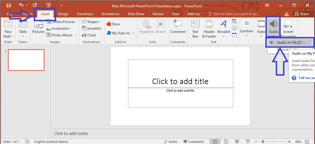 Chọn Insert audio- Chèn nhạc vào Powerpoint
