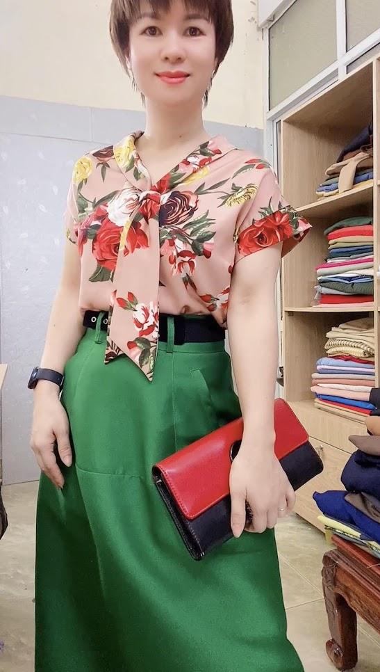 áo sơ mi nữ tay hếch và chân váy xòe vải taffta thời trang thủy hải phòng 3
