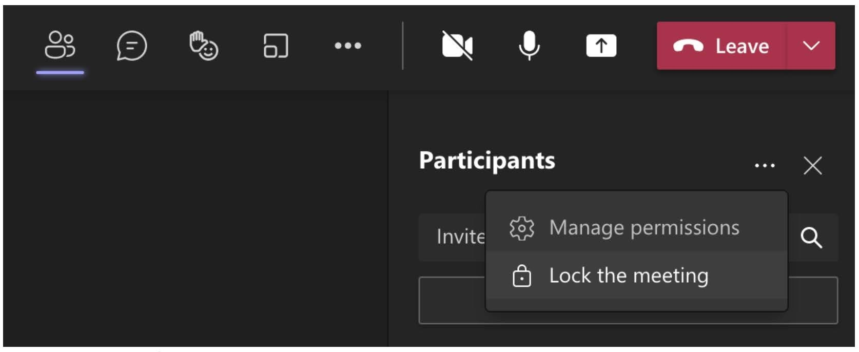 When the change has rolled out meeting organizers will have the option to Lock the meeting.