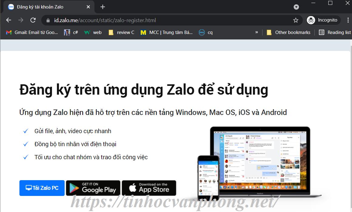 Trang đăng ký của Zalo trên web