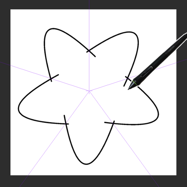 クリスタ対称定規を利用した描画(星型)