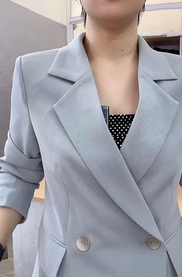 áo vest nữ dáng dài phối đồ quần baggy công sở thời trang thủy quảng ninh