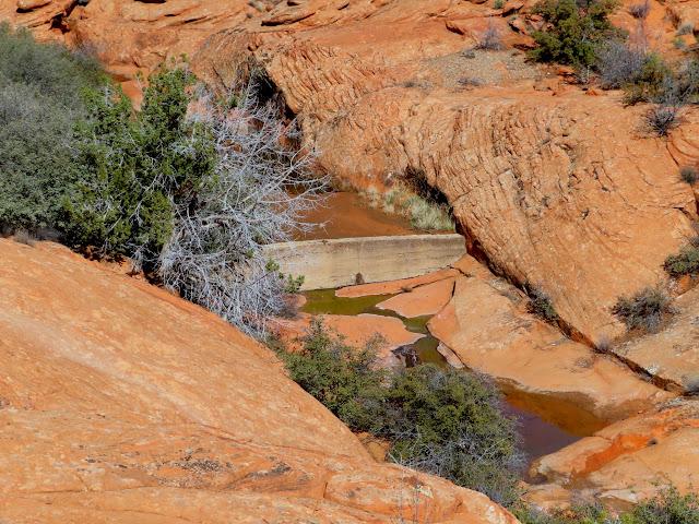 Dam in a small sandstone wash