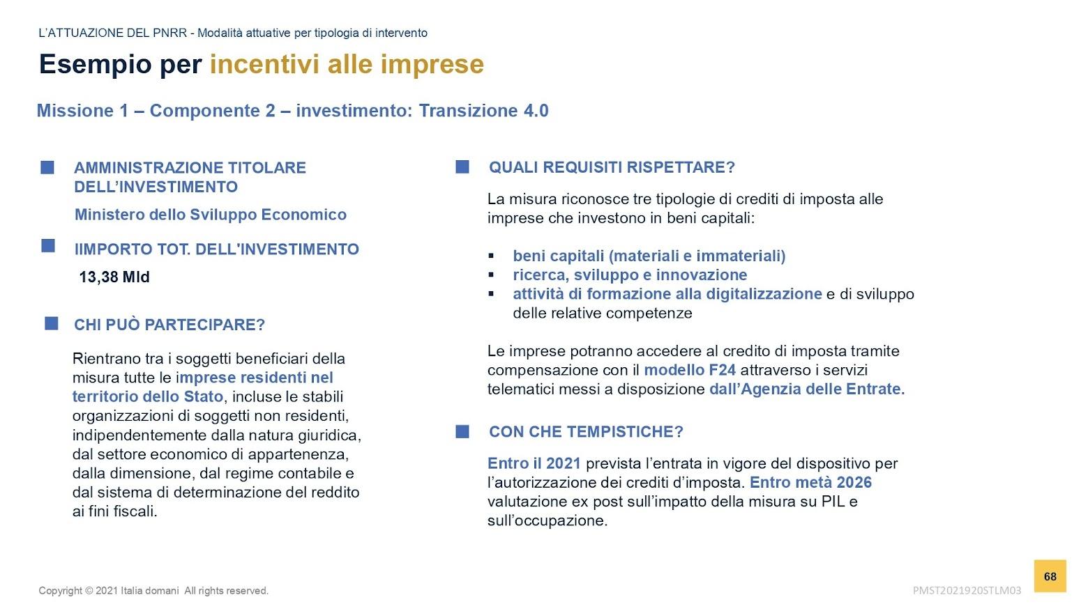 Incentivi imprese - slide MEF