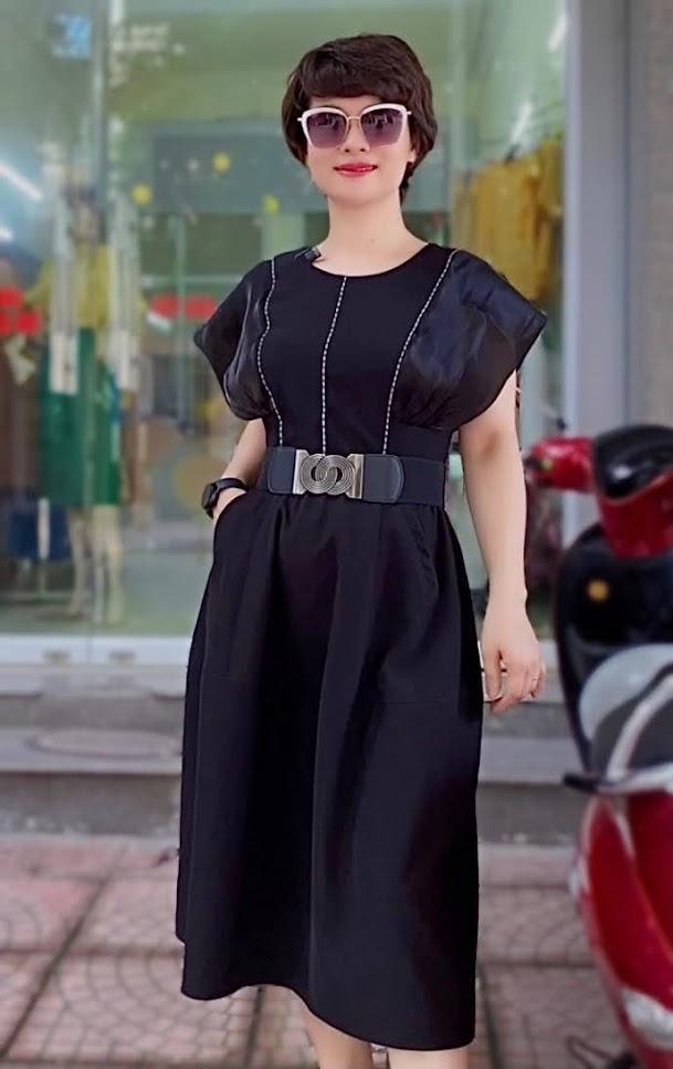 váy xòe midi tay cánh bướm mặc dự tiệc thời trang thủy nam định