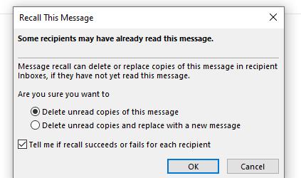 Chọn Delete unread copies and replace with a new message nếu như bạn muốn thu hồi mail trên Outlook đã gửi và thay thế bằng thư mới luôn hoặc Delete unread copies of this message nếu bạn chỉ muốn thu hồi email thôi