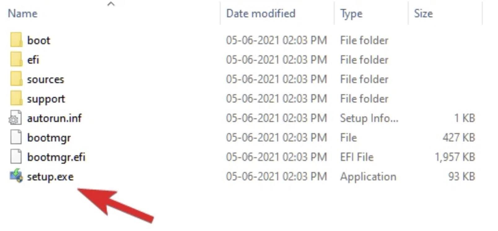 Open the mounted drive and double-click on the setup.exe file to start the Windows 11 Insider Preview installation.