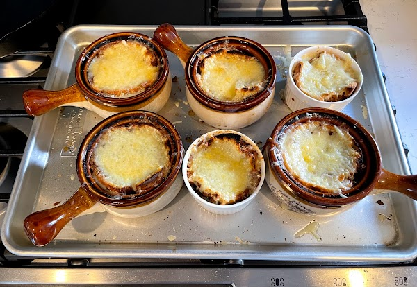 onion soup fresh from the broiler