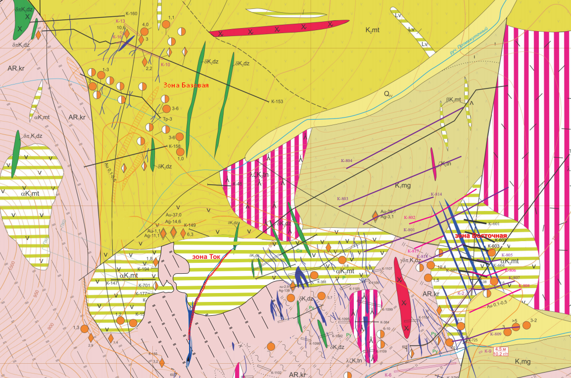 Фрагмент схематической геологической карты месторождения золота Киранканское