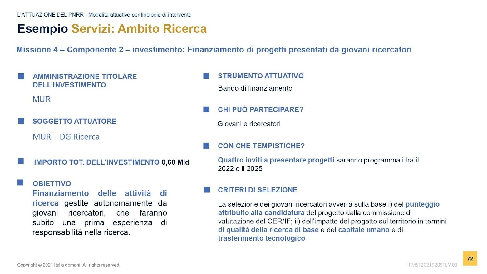 Finanziamenti ricerca - slide MEF