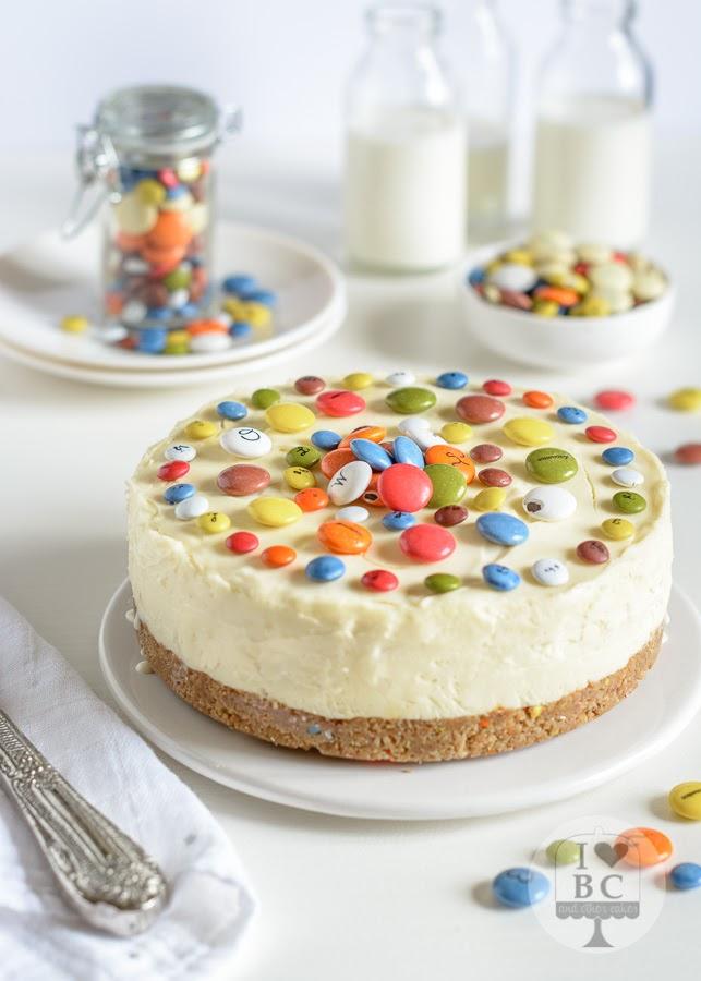 Cheesecake de chocolate blanco y Lacasitos