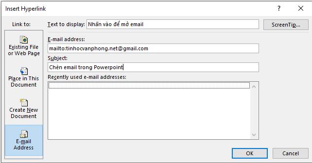 chèn link vào Powerpoint - nhập địa chỉ email và chủ đề mail