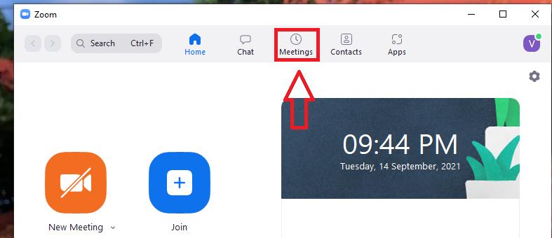 Nhấn vào Meetings