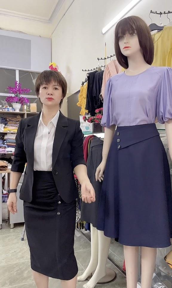 áo sơ mi nữ và chân váy xòe thời trang thủy thiết kế hải phòng