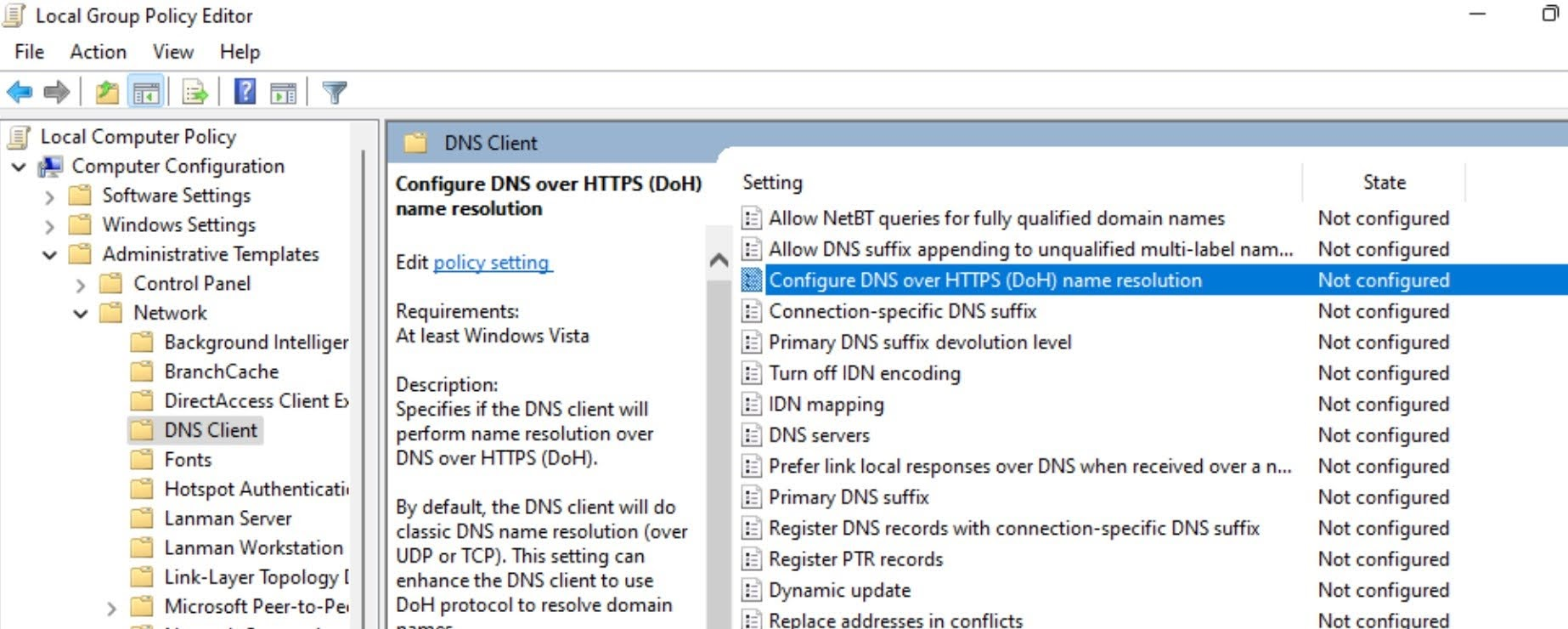 Double-click on the Configure DNS over HTTPS(DoH) name resolution policy.