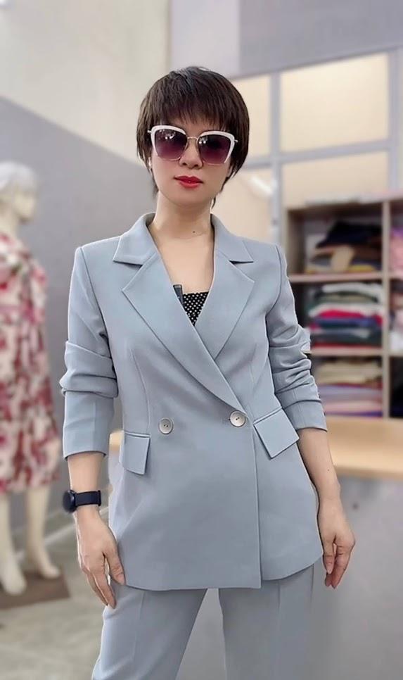áo vest nữ dáng dài phối đồ quần baggy công sở thời trang thủy hải phòng