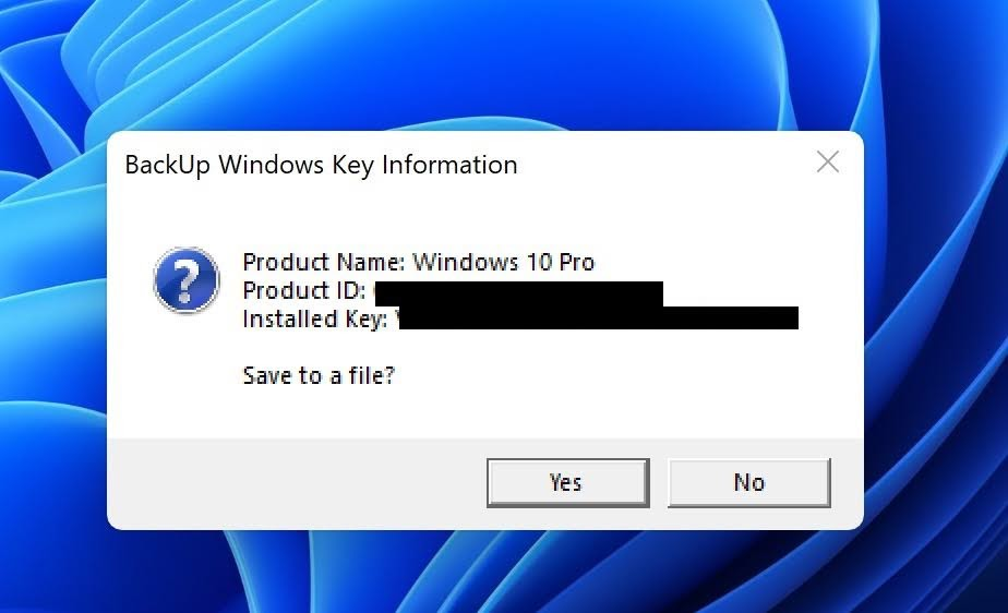 A message box will prompt to display the Product Name, Product ID, and Installed Key. Click on Yes button to save the information into text file or click on No button to close the message box.