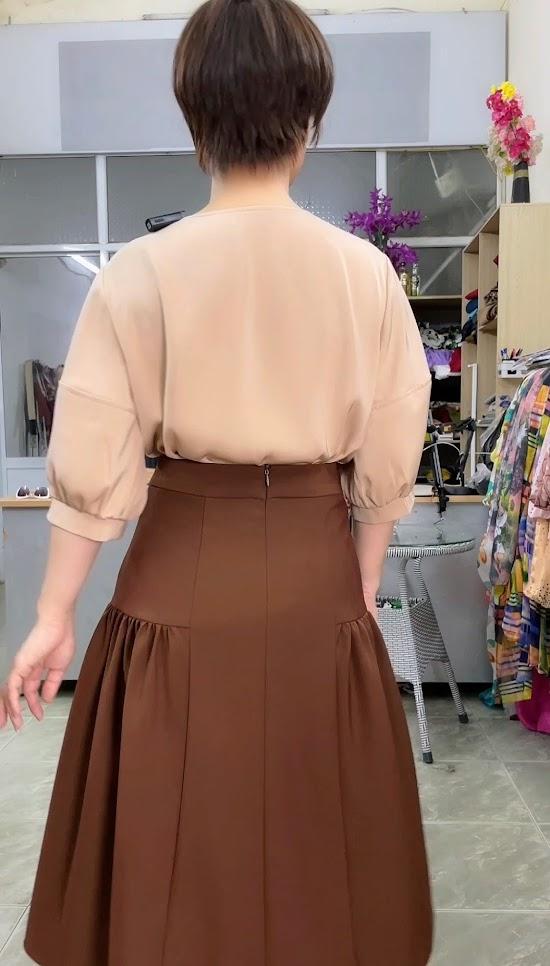 Ưu điểm xếp nhún hông chân váy xòe midi thời trang thủy đà nẵng