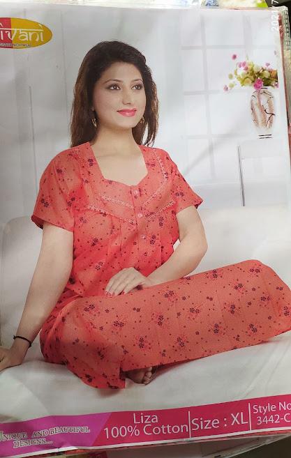 Ready At Store Liza 3442 Shivani Designer Nighty Manufacturer Wholesaler