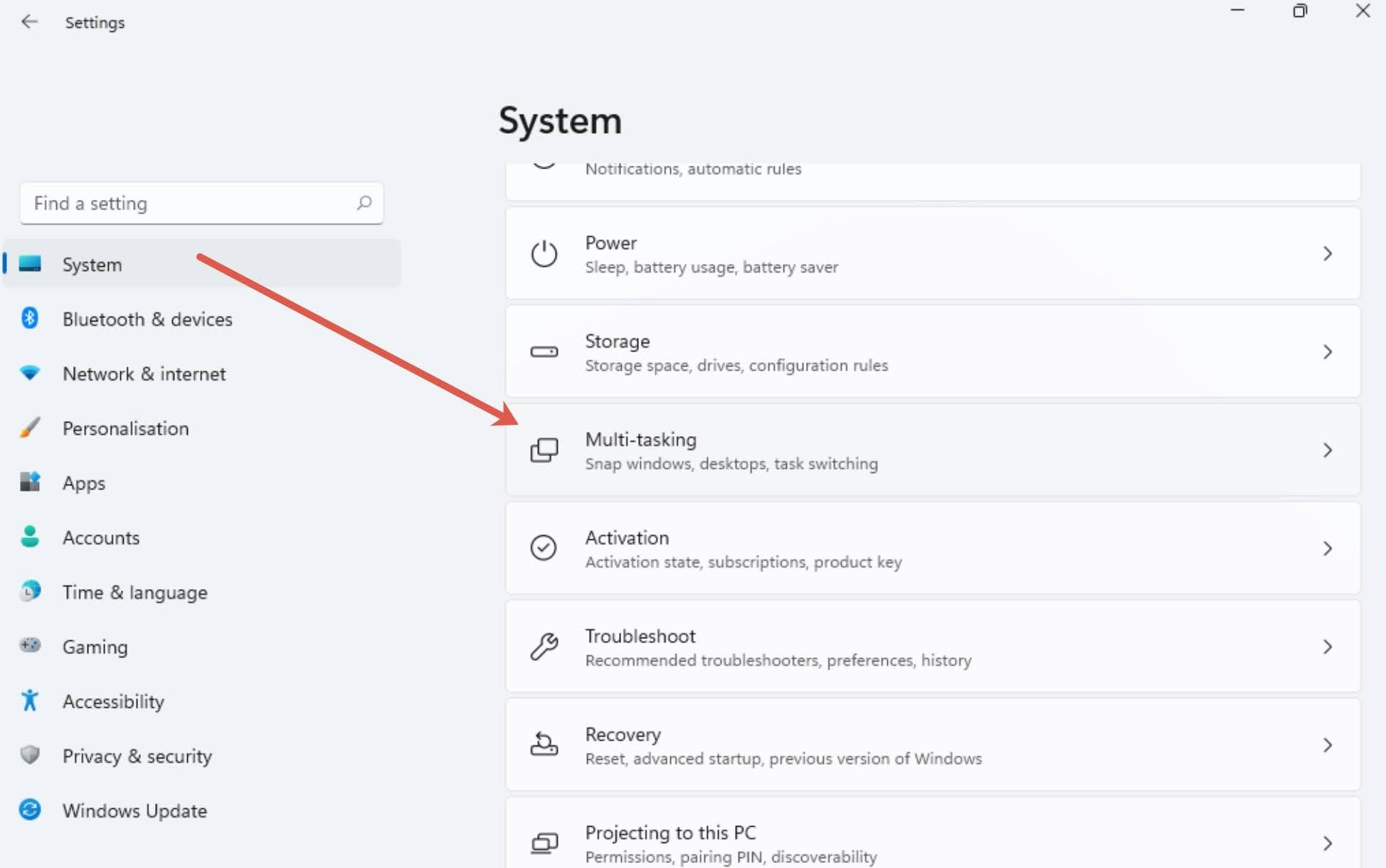 Click on the System on the left sidebar and then Multi-tasking section.