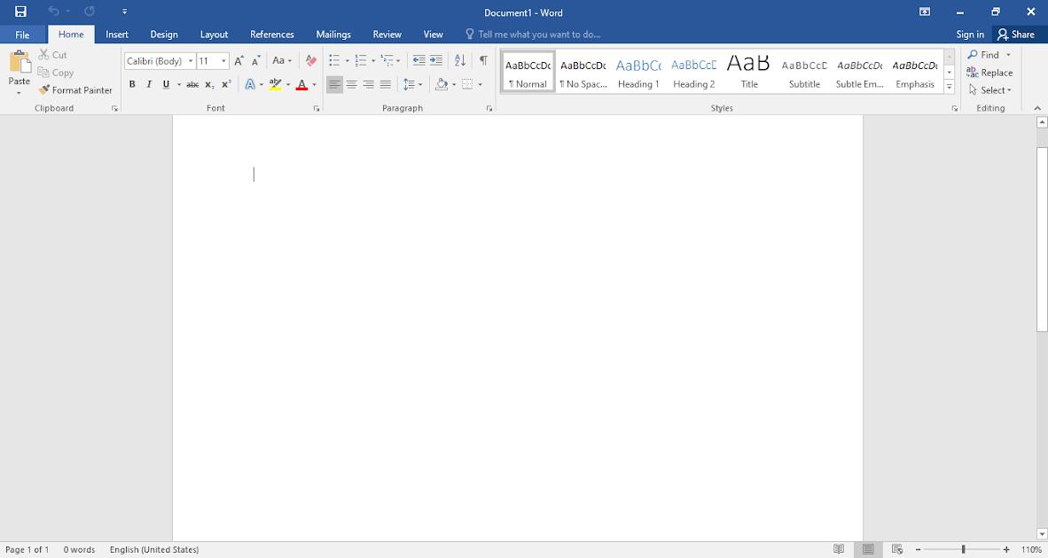 Trình soạn thảo Microsoft Word 2016.