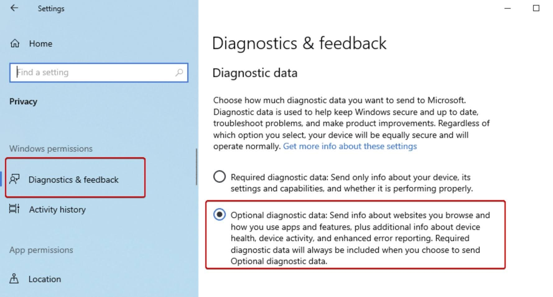 Select the radio button for Optional diagnostic data.