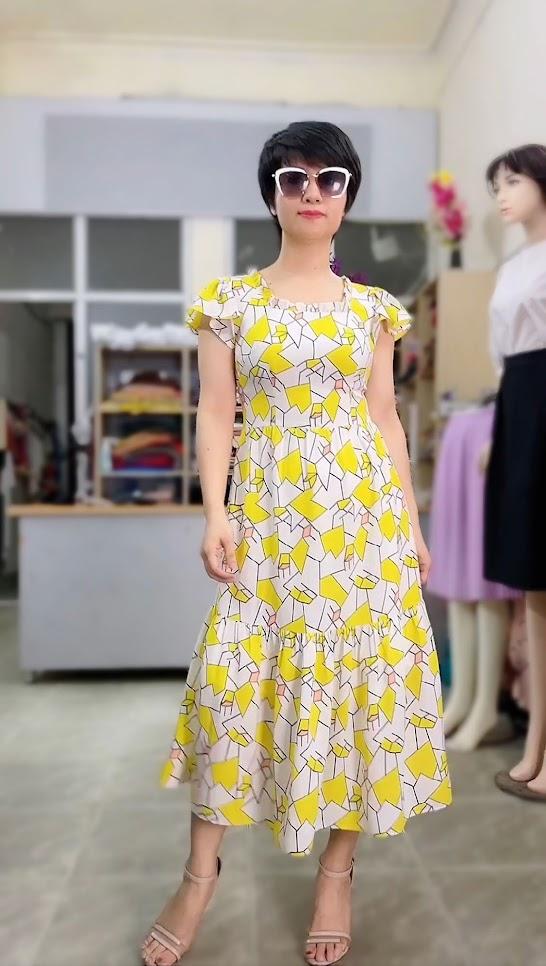 váy xòe midi đi biển mặc đẹp thời trang thủy sài gòn