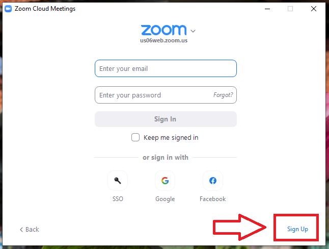 Trong giao diện Zoom Cloud Meeting , ở phía dưới bên phải bạn chọn Sign Up