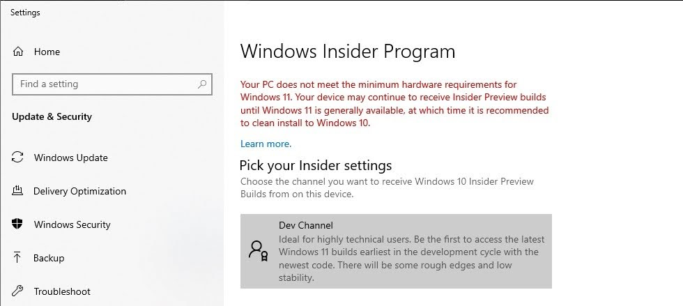"""Open Start/> Settings > Update & Security > Windows Insider Program. You will see the Dev Channel display under Pick your Insider settings."""" width=""""980″ height=""""439″></p><p><strong>Step 17</strong>: Go to <strong>Settings</strong> > <strong>Update & Security</strong> > <strong>Windows Update</strong>.</p><p><strong>Step 18</strong>: Click the <strong>Check for updates</strong> button. You should see the Windows 11 Insider Preview start to download.</p><p><img loading="""