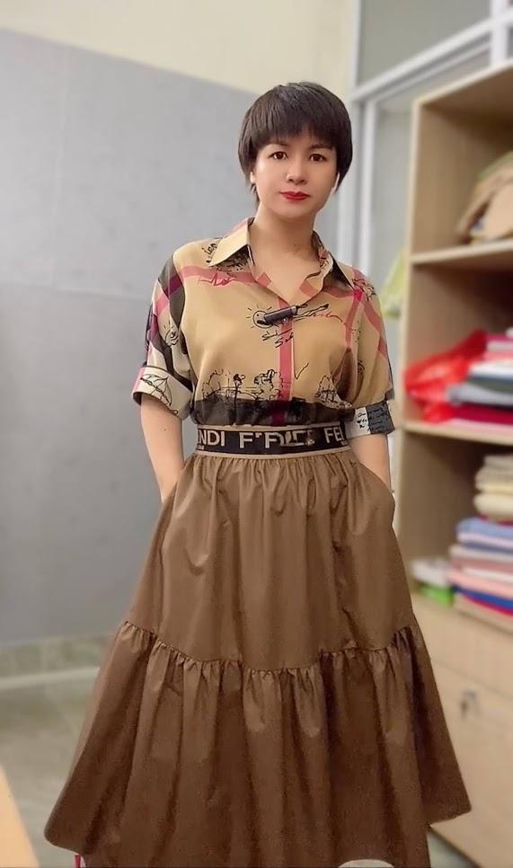 áo sơ mi nữ công sở phối đồ chân váy xòe midi thời trang thủy sài gòn