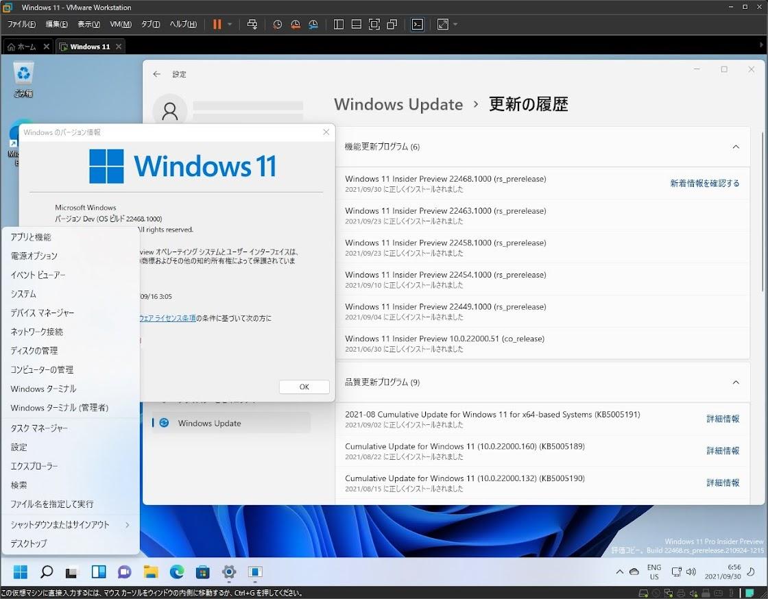 VMwareとWindows11 build 22468.1000 on Legacy物理マシン 新Build更新!