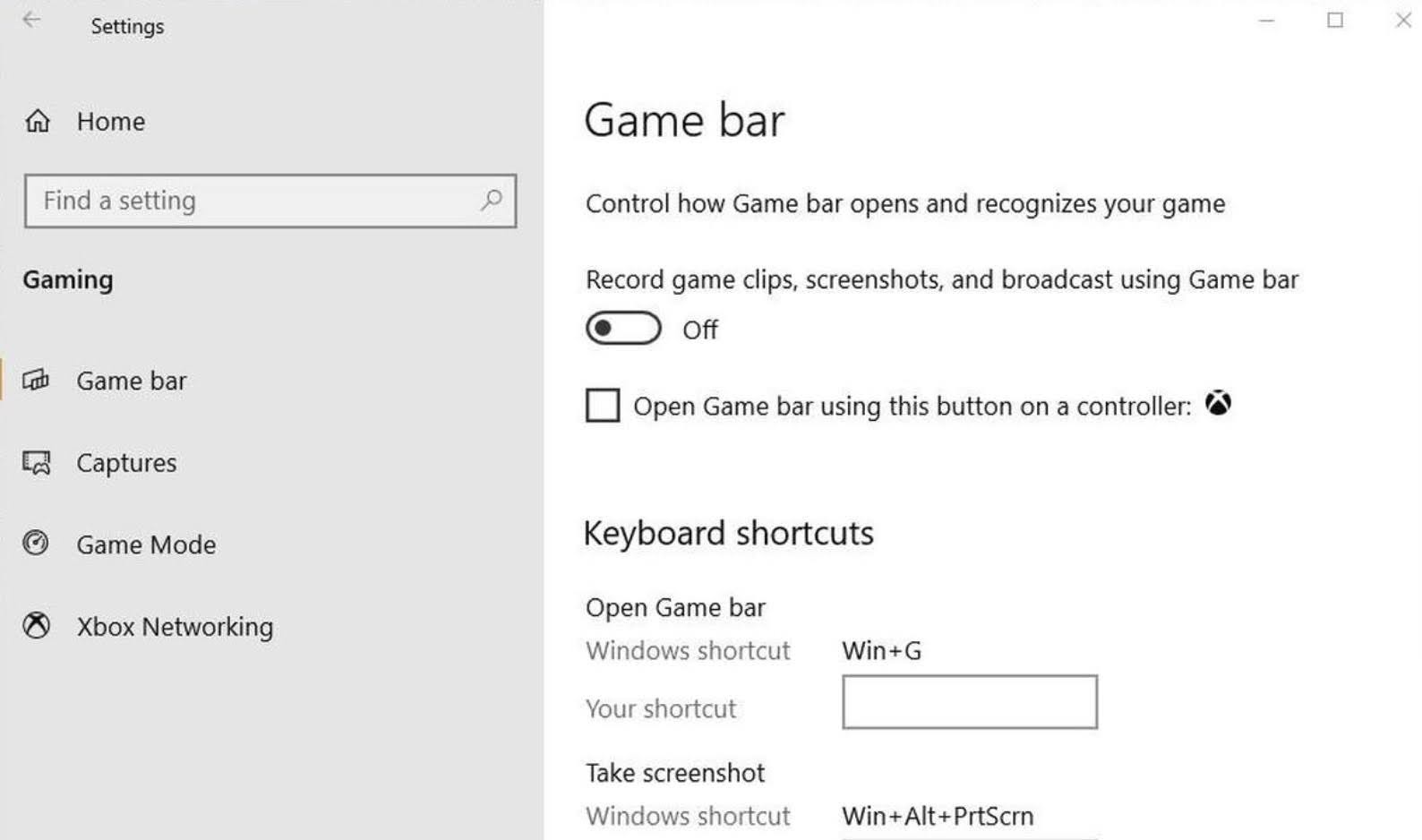 In the Game Bar settings window, toggle the Game Bar to Off status.