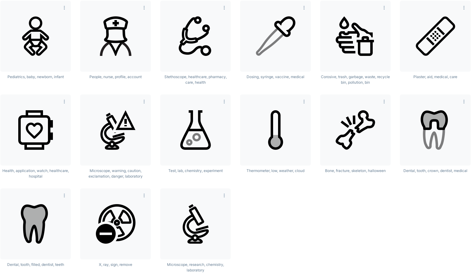Medical science transparent background icons