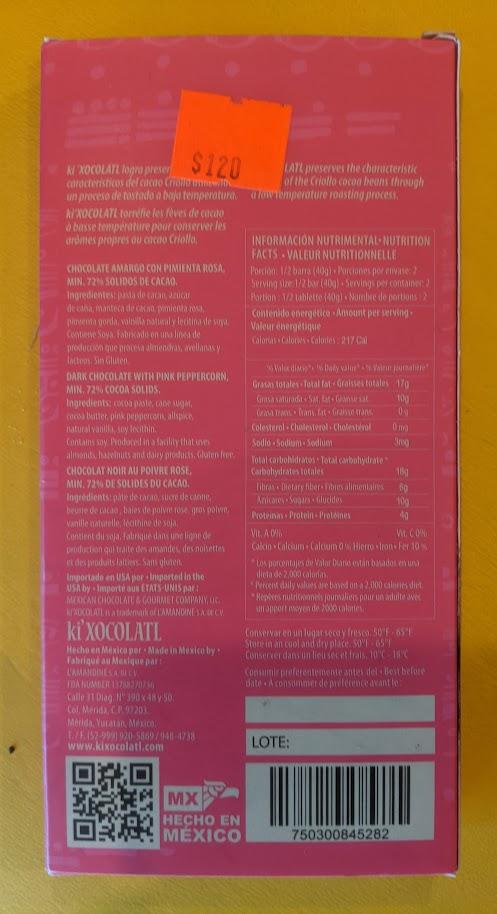 72% ki'XOCOLATL pink pepercorn bar