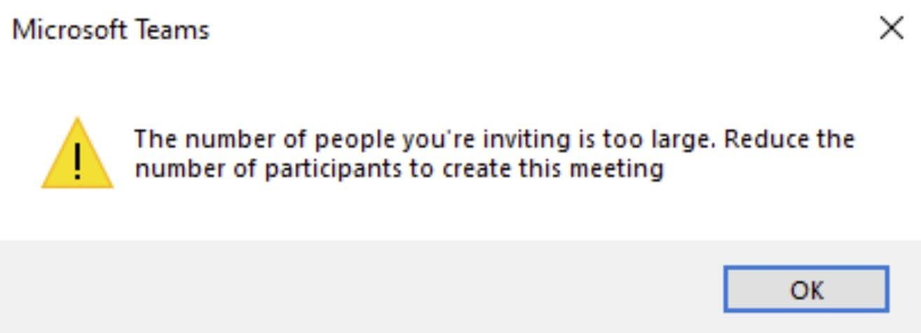 Users using Outlook (Win32 and Win64) will see an error message dialog when trying to schedule or reschedule a meeting with a number of attendees larger than the new 750 recipient limit and will be required to reduce the number of recipients or user Distribution Lists to send the meeting invite.