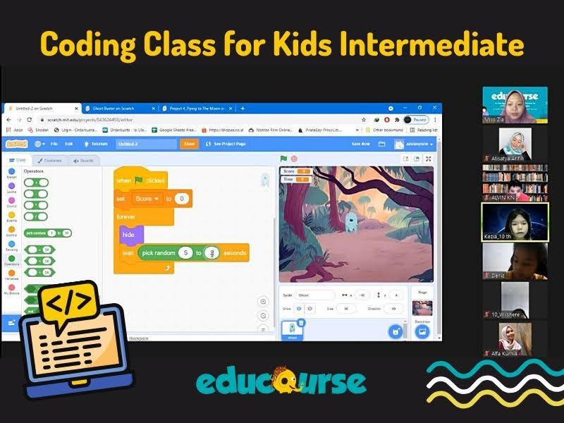 coding class for kids di educourse dilakukan secara online lewat aplikasi Zoom