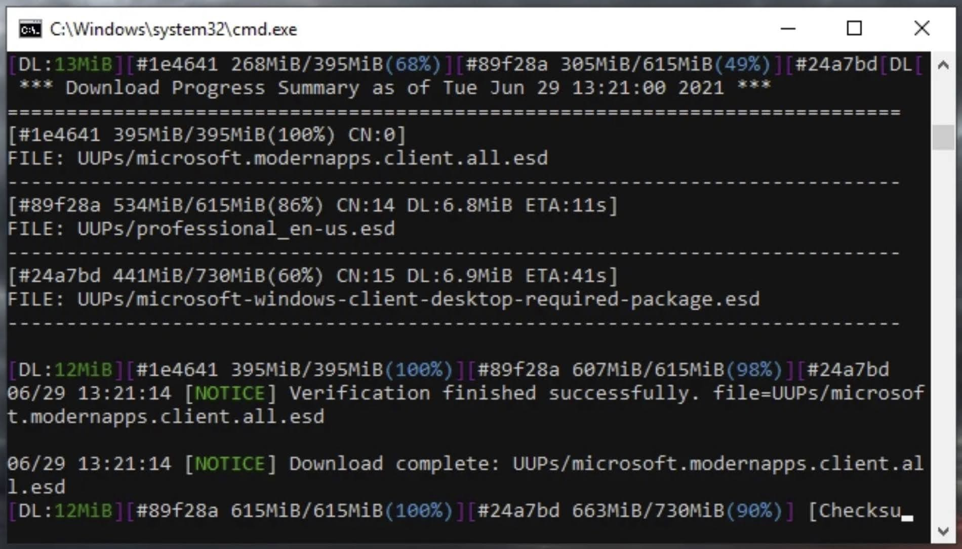 Command Prompt window will open and start to download Windows 11 Insider Preview.