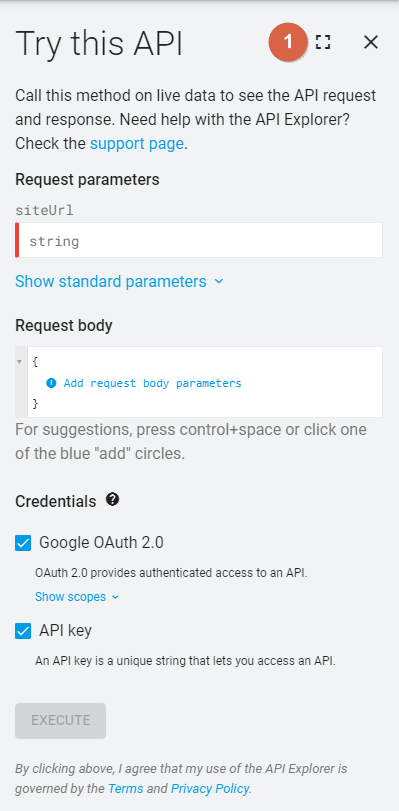 Google Search Console API > Try this API 1