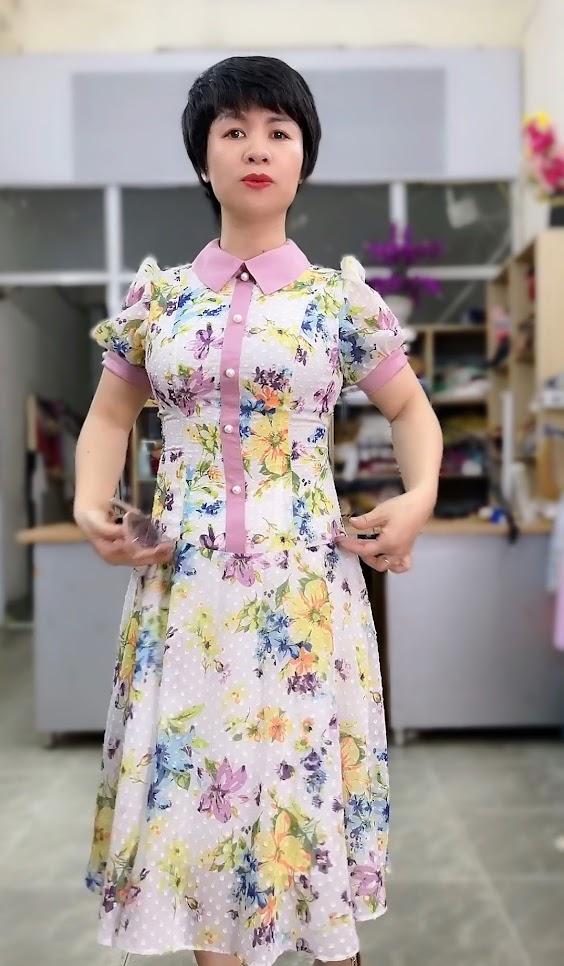 váy xòe midi công sở nữ mặc đẹp thời trang thủy hồ chí minh