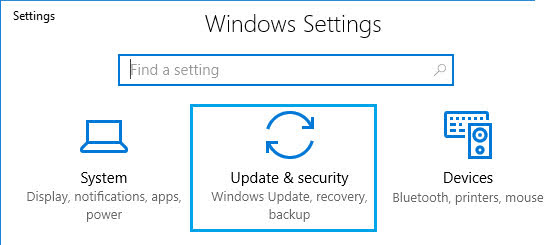 Select the Update & security option inthe Settings app.