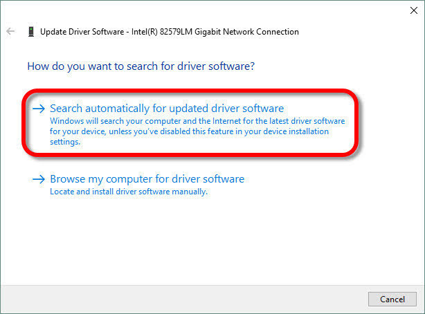 Select the Search automatically for updated driver software option for Windows to start to search and install the latest device driver on the computer.