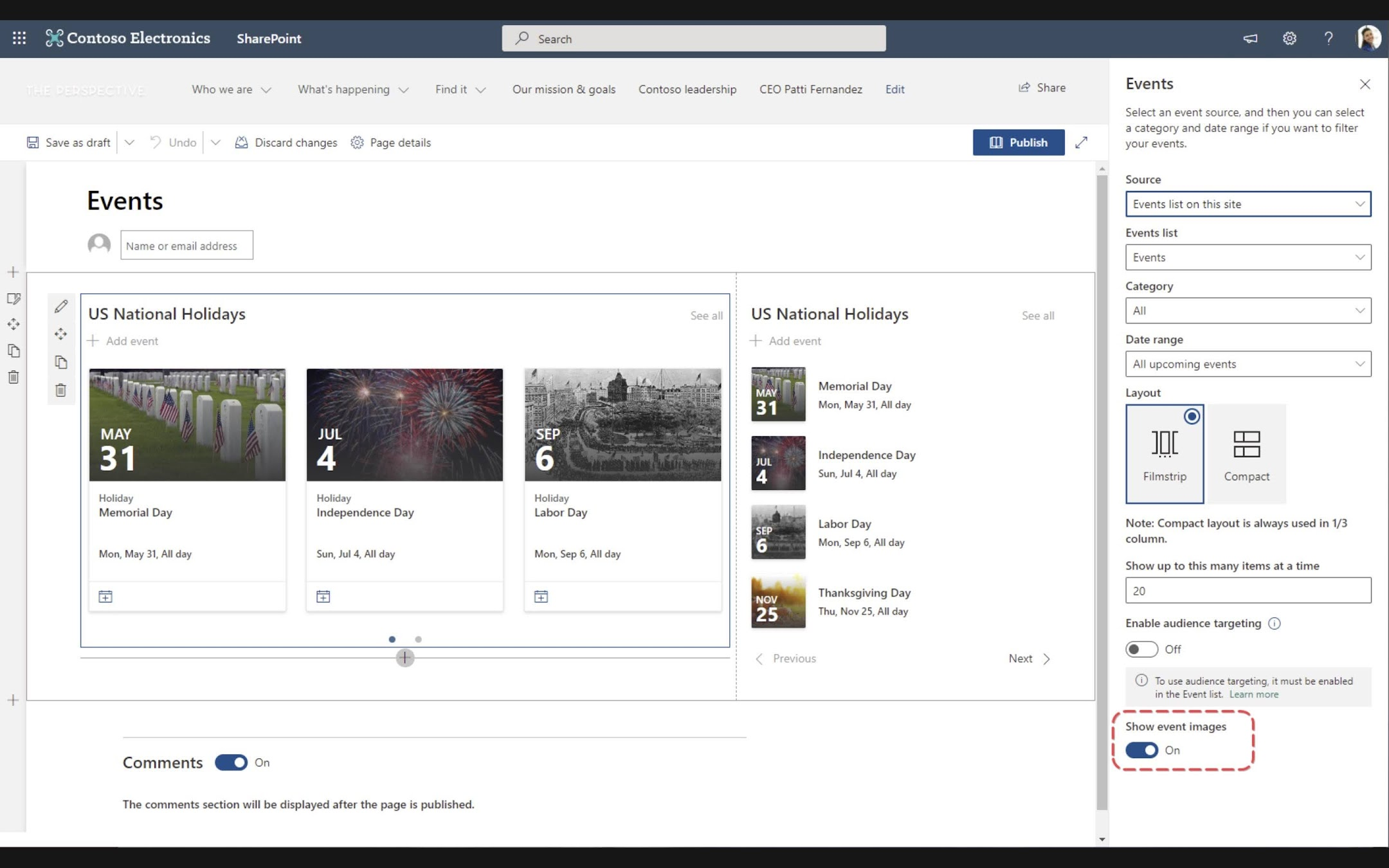 SharePoint page authors who use the Events web part can enable an option to show event images within the web part. When enabled, each Event shown in the web part will display the image used in the title area of the Event page.